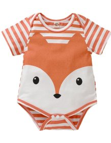 Cartoon Print Striped Summer Baby Rompers