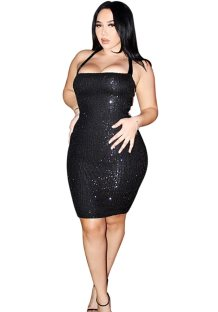 Sexy Sequins Cut Out Halter Party Dress
