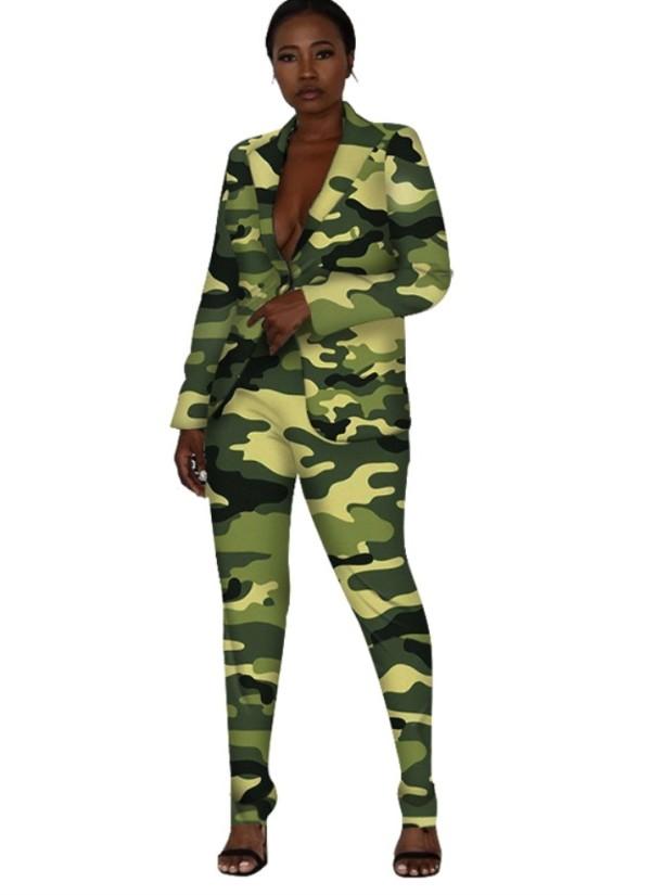 Abito giacca e pantaloni manica lunga stampa donna nera