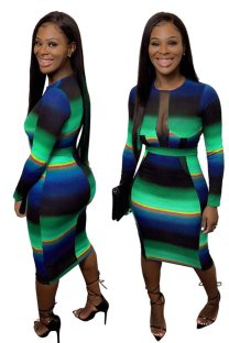 Sexy Colorful Bodycon Dress with Sleeves