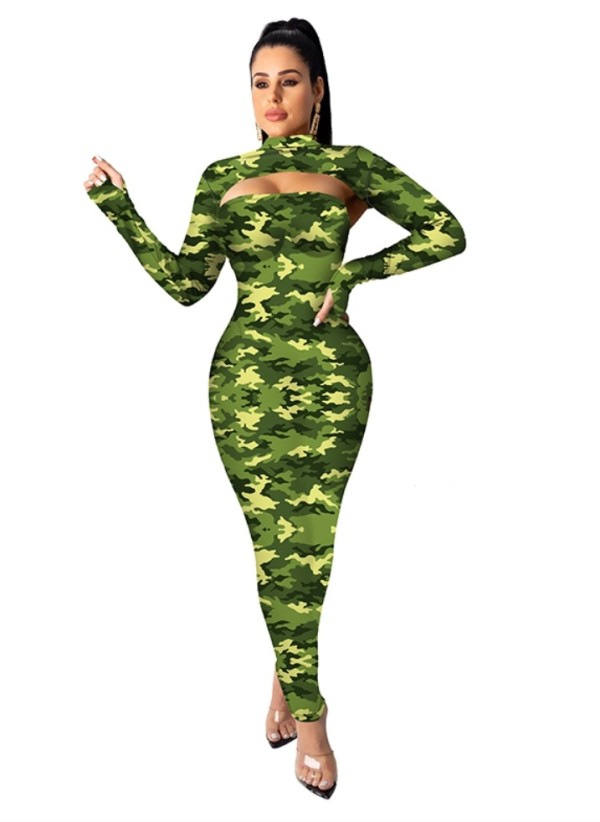 Baskılı Cut Out Midi Elbise Kollu