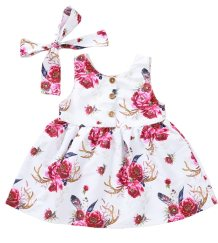 Kids Girl Floral Print Summer Dress