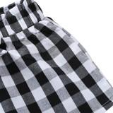 Calções e blusa de verão infantil branco e preto para menina