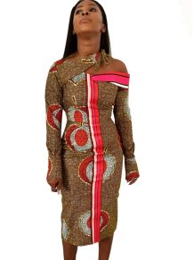 African Print Irregular Midi Dress with Sleeves