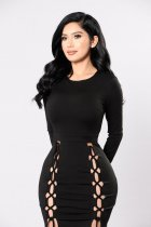 Sexy Lace-Up Sheer Bodycon Jurk 23781-2