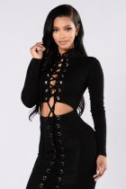 Fashion Black Lace-up Design Open Waist Long Sleeve Club Dress  23147-1