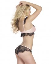 Black Lace Pink Bra Sets 20652