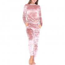 Plain Velvet Two-Piece Tracksuit 23247-1