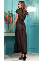 Black Mesh and Lace Open Lingerie Gown 16134