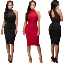 Open Shoulder Beaded Red Midi Dress 23179-1