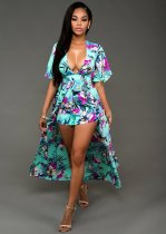 Flower Printed Fly Away Maxi Dress 21081