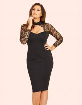 Black Lace Top Cut-Out Party Dress 23804