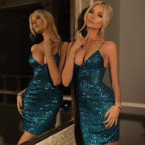 Sexy Sequins Blue Straps Party Dress 23885-2