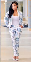Women Floral Business Blazer and Pants 25450-1
