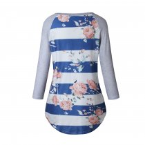 Wide Stripes Floral Sweat Shirts