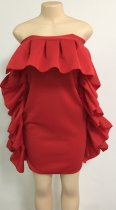 Occassional Strapless Red Pop Dress