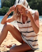 Sexy Sleeveless Hoody Crochet Beach Dress
