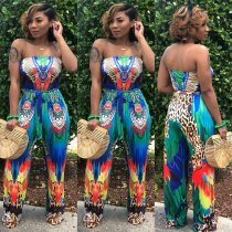 Strapless Print Holiday Jumpsuit