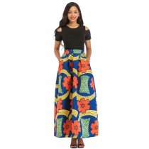 Short Sleeve Black Top and African Print Maxi Skirt
