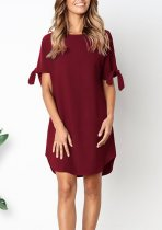 Plain Mini Casual Dress with Tied Cuffs
