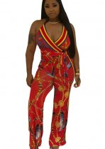 Print Halter Sexy Plung Jumpsuit