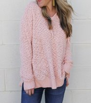 Long Sleeve V-Neck Basic Plush Top