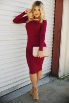 Long Sleeve Red Lace-Up Bodycon Dress