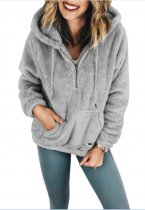 Short Plush Hoody with Pocket