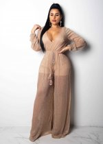 Deep-V Sexy Nude Jumpsuit with Full Sleeves