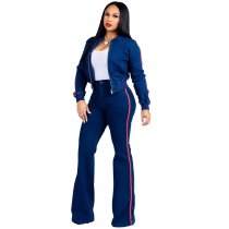 Strech Blue Long Sleeve Jacket and Wide Legges Pants