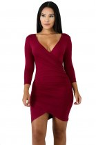 Plain Color Wrapped Club Dress with Full Sleeves
