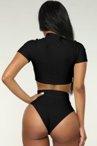 Short Sleeve High Waist Swimwear