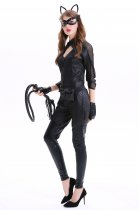 Black Leather Sexy Cat Women Jumpsuit for Halloween