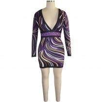 Multi-Color Print Party Dress with Deep-V Neck