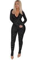 Sequins Sexy Plung Jumpsuit with Full Sleeves