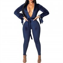 Deep-V Sexy Tight Shiny Jumpsuit met mouwen