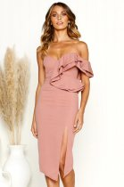 One Shoulder Ruffles Party Dress with Split Hem
