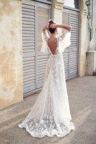 White Lace Plung Wedding Dress