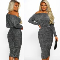Off Shoulder Sequins Long Sleeve Party Slim Dress with linning