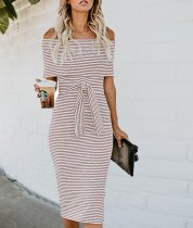 Off Shoulder Stripes Midi Dress with Belt