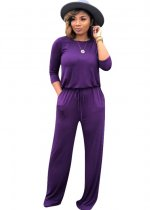 Long Sleeve Sheer Casual Jumpsuit with Drawstring Waist