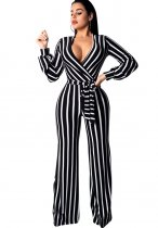 White and Black Stripped Wrapped Jumpsuit with Sleeves