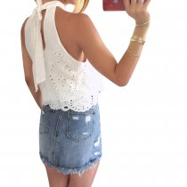 Branco oco Out Chic Top com Scoop Neck