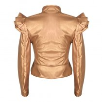 Leather Brown Ruffles Jacket