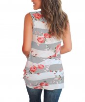 Wide Stripped Floral Vest Top