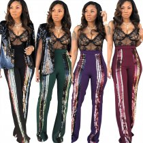 High Waist Sequins Trouser