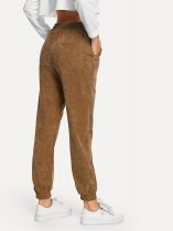 Casual Plain Drawstring Trousers