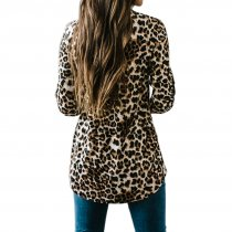 V-Neck Leopard Blouse with Half Sleeves