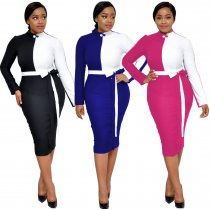 Block Color Long Sleeve Office Dress with Belt