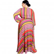 Plus Size Print Wrapped Maxi Dress with Pop Sleeves